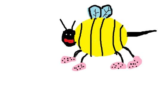 A fashionable bee drawn by Sophie. Thanks again!